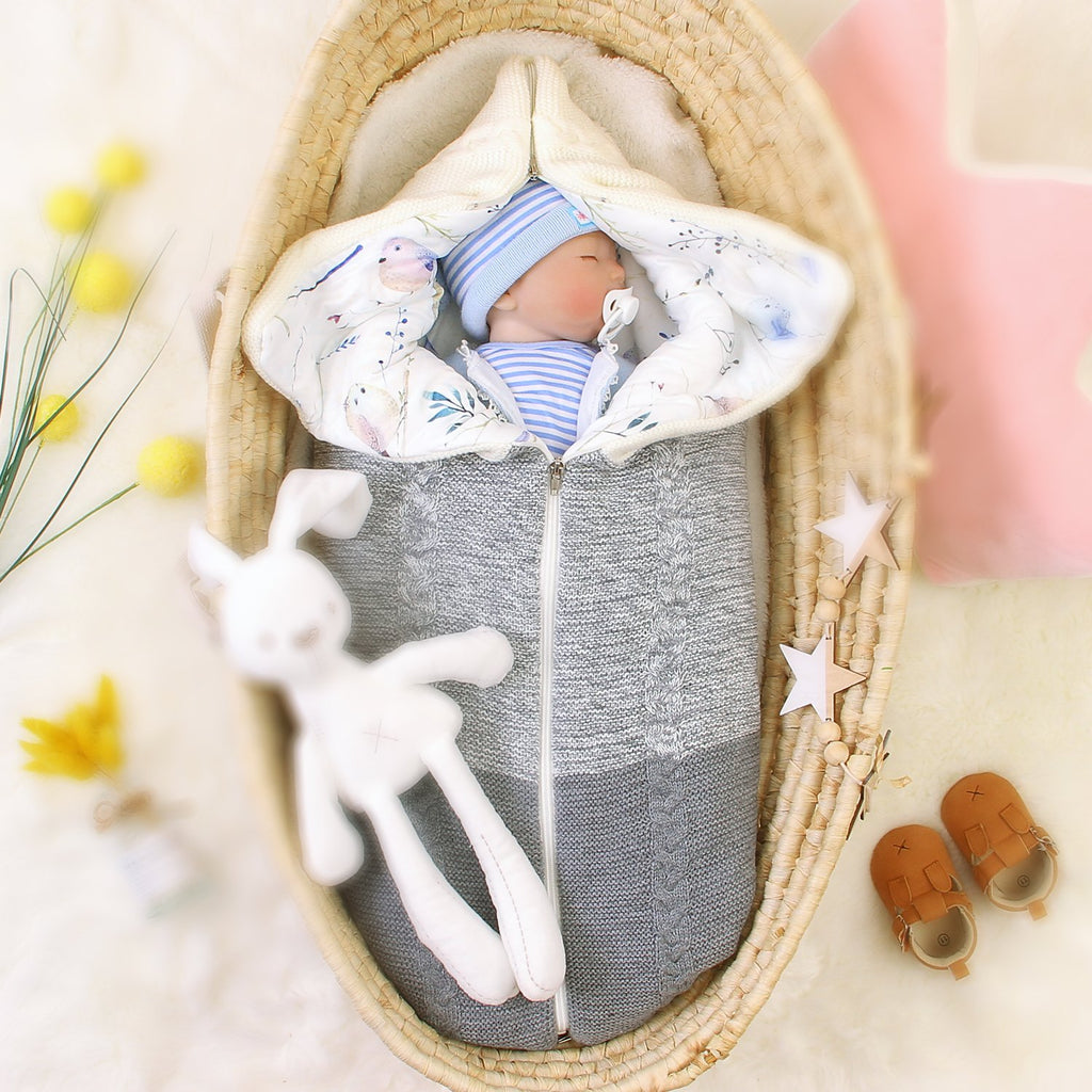Newborn Baby Swaddle Blanket Knit Sleeping Bag for Boys and Girls - ccbabe