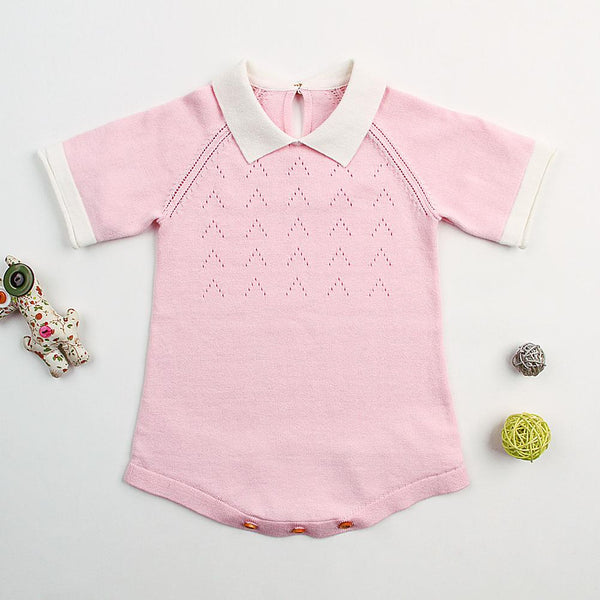 Cute Baby Girls Cotton Short Sleeve Sweater Dress - ccbabe