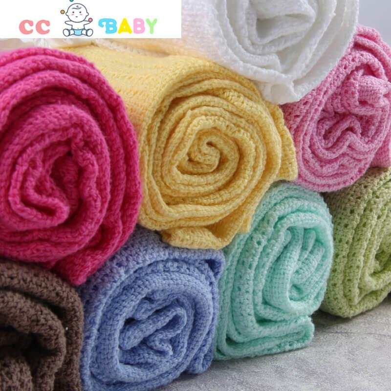 Soft 100% Cotton Knit Cute Breathable Baby Blanket for Girls or Boys - ccbabe