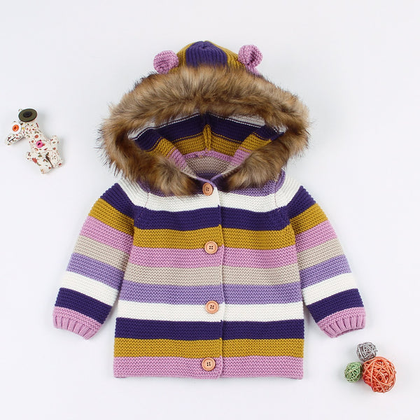Baby Cardigan Sweater Boy Long Sleeve Jacket Hooded Coat - ccbabe