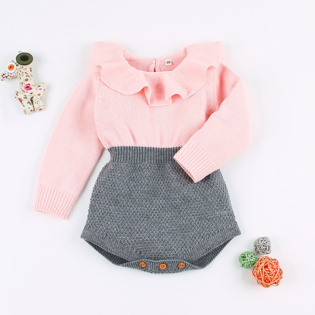 Baby Girls Long-Sleeved Piece Stripe Knit Lapel Romper - ccbabe