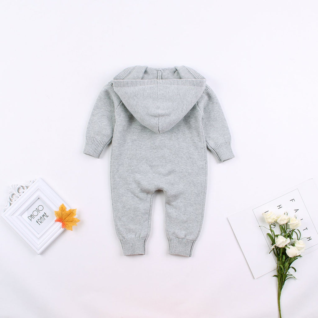 Baby Sweater Romper Knit Long Sleeve Jumpsuits Hooded Jackets Coats - ccbabe