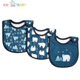 3 Pack SuperBibs, Cute Cartoon Baby Bib Washable, Stain and Odor Resistant For Newborn Baby