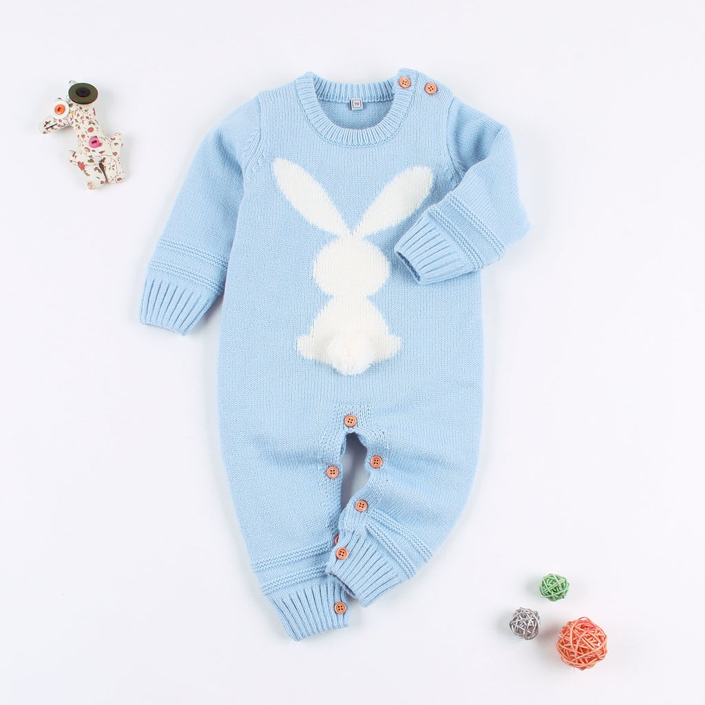 Baby Sweater Toddler Jumpsuits Kid's Knitted Bunny Romper for Easter Christmas - ccbabe