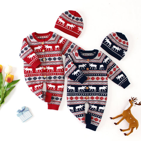 Ins Baby Long Sleeve Christmas Deer Jumpsuit Christmas Hats Set