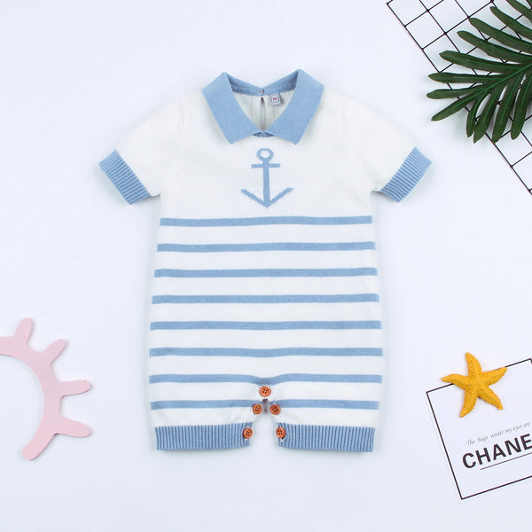 Nautical Baby Boy Romper Toddler Navy Bodysuit Clothing - ccbabe