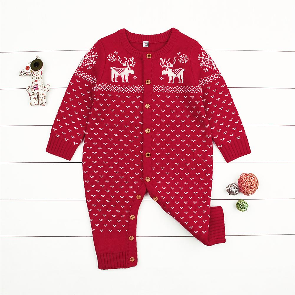 Baby Christmas Sweater Toddler Reindeer Hooded Jumpsuit Red Clothes - ccbabe