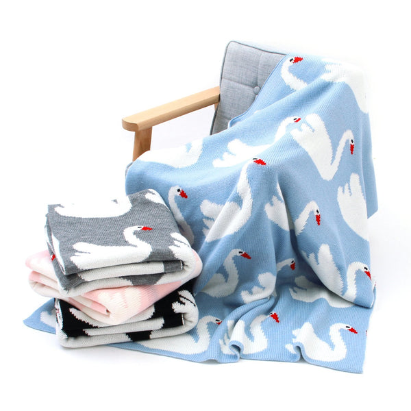 Baby Blankets Knitted Double Layer Soft Cellular Pram Blankets,Swan Patterns - ccbabe