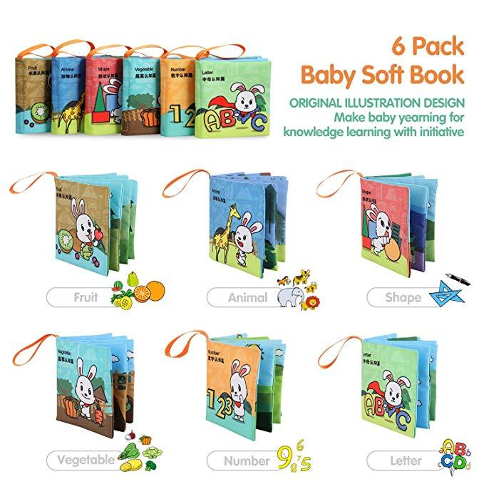 Soft Books for Babies, Baby First Soft Books Early Education Toys 6 Pack - ccbabe
