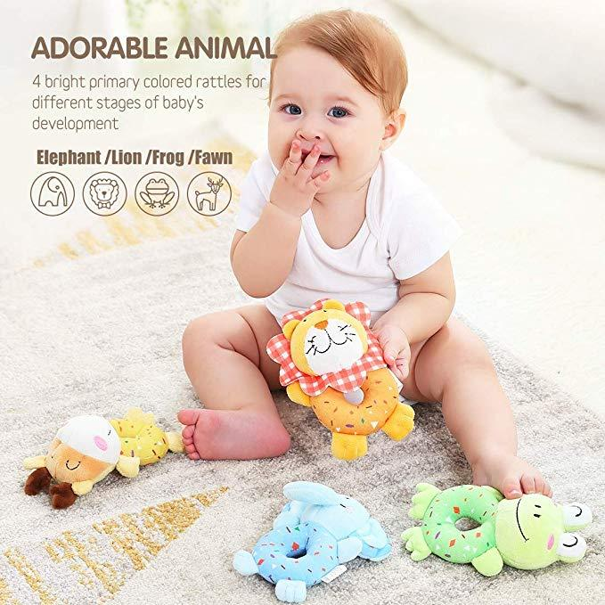 Baby Toys for 3, 6, 9, 12 Months Newborn 4 PCS  Animal Rattles for Baby - ccbabe
