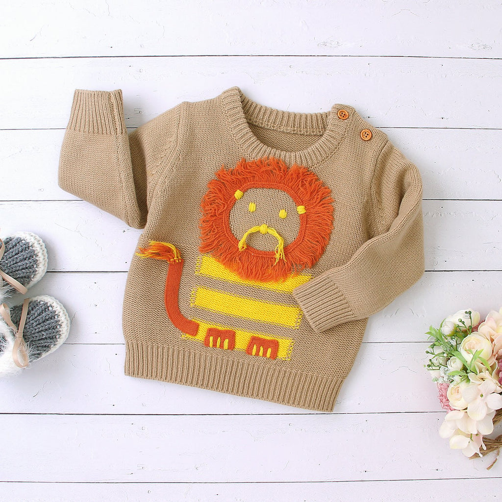 Baby Boys Pullover Knit Sweater Newborn Cute Cartoon Lion Tops - ccbabe