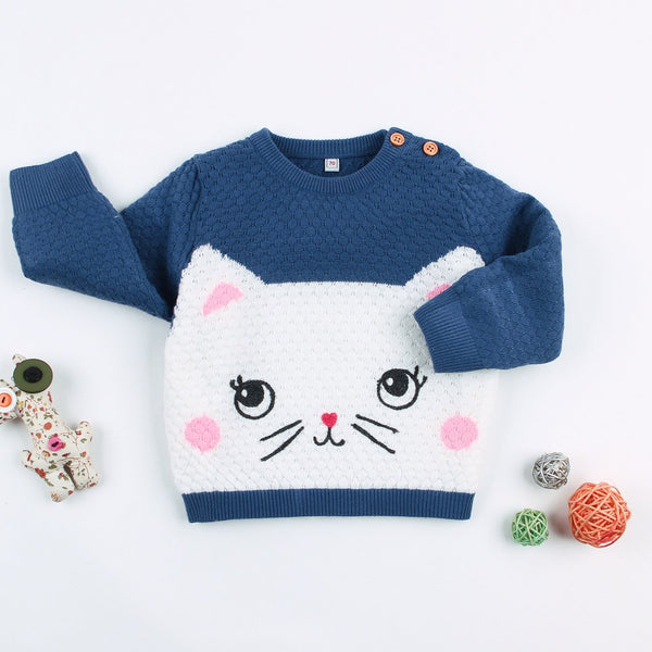 Baby Knitted Pullover Sweater Toddler Long Sleeve Cat Pattern Sweatshirt Clothes - ccbabe