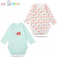 2pcs Baby Girl Clothes Floral Long Sleeve Footless Romper Jumpsuit Cotton