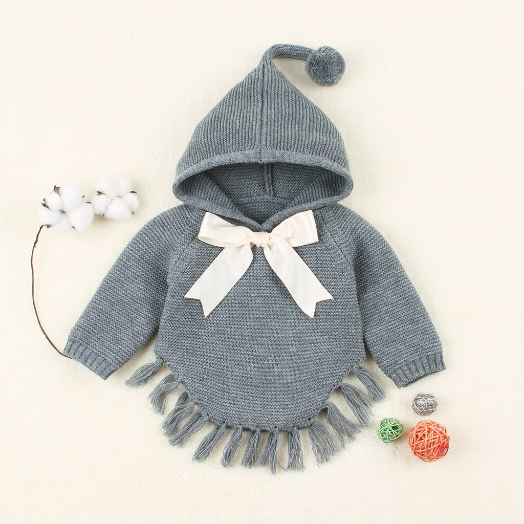 Baby Hooded Knit Sweaters Toddler Girls Pullover Long Sleeve Tassels Sweatshirt - ccbabe