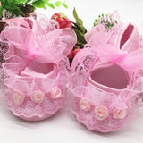 Princess Party Lace Floral Soft Sole Crib Shoes Newborn Baby Girl Shoes Anti-slip Sneaker Prewalker Toddler Kid 0-12M