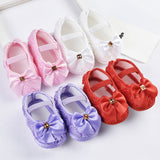 Baby Girl Shoes Ribbon Bow First Walkers Princess Baby Shoes Rose Flowers Bow Newborn Soft Anti-slip for infant Girls