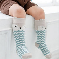 Baby Knee Highs Anti Slip Baby Socks Newborn Girls Boys Toddler Socks Long Tube Fox Cat Animal Infant Cotton Socks Kids