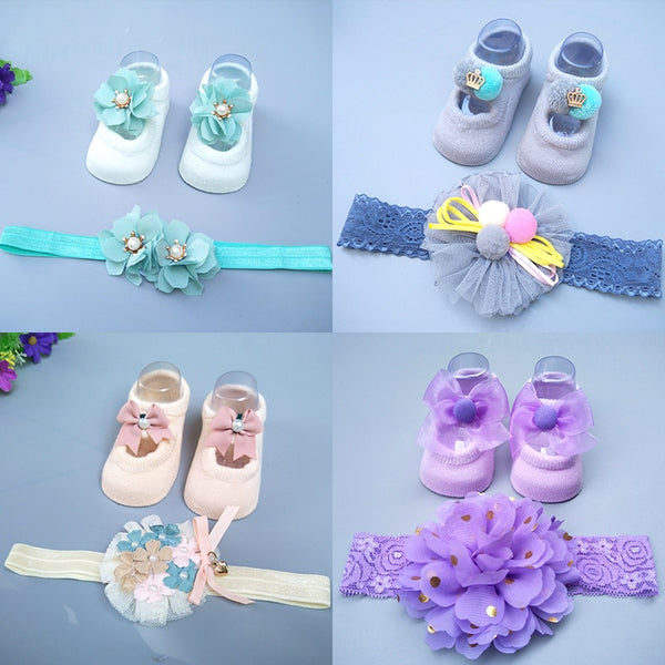 Baby Stuff Newborn Solid Color Lace Baby Socks Bow Princess Cute Baby Bowknot Socks+ Hair Band Set Photo Props Baby Girl Gift
