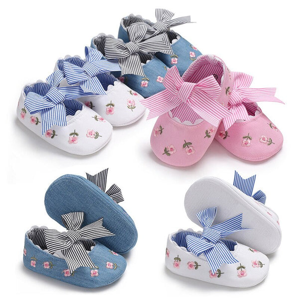 Floral Embroidery Baby Shoes for Newborn Baby Girl Striped Bow First Walker Soft Soles Cute Toddler Anti-Slip Princess Shoes Kid