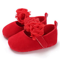 New Rose Flower Pink Princess Newborn Baby Girl Shoes First Walkers Soft Cotton Anti Slip Toddler Shoes Solid Color Infant Shoes