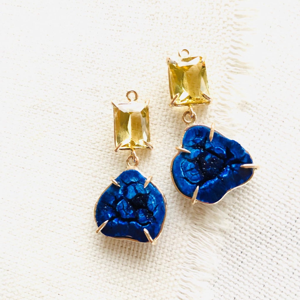 I paired these intense blue azurite geodes with golden beryl otherwise known as heliodor for amazing contrast. These azurite geode earrings are prong set in 14kt gold and come with 14kt gold earring wires not seen in the photographs.