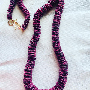 This one of a kind purple spiny oyster shell beaded necklace is, hand knotted between each bead, and finished with my signature 14kt gold clasp. This purple shell necklace is truly a favorite of mine.