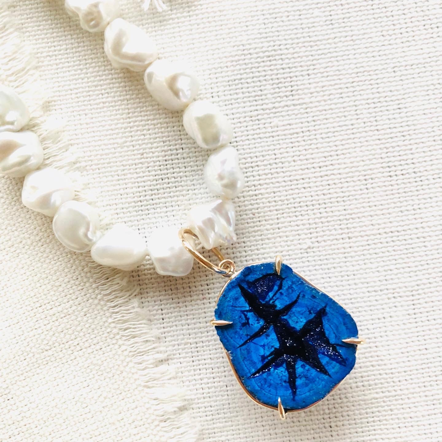 Russian Azurite Geode on Freshwater Pearl Necklace