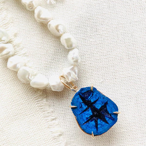 I set this beautiful Russian blue azurite geode in 14kt gold with prongs and a large gold bail over freshwater pearls and finished the necklace with my handmade 14kt gold signature clasp.
