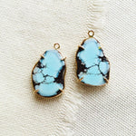 Let these effortlessly chic Kazakhstan turquoise earrings dress up your beach holiday.  Kazakhstan turquoise is also known as Golden Hills turquoise or Lavender turquoise.