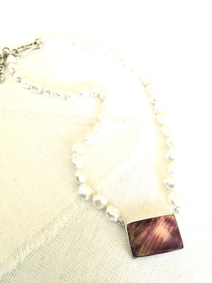 Purple Spiny Oyster Shell Bar Necklace on Pearls