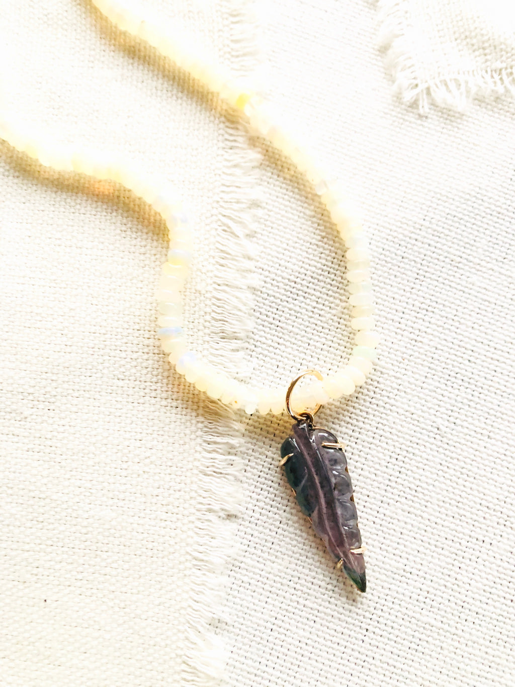 Tourmaline Leaf Pendant on Ethiopian Opal Necklace