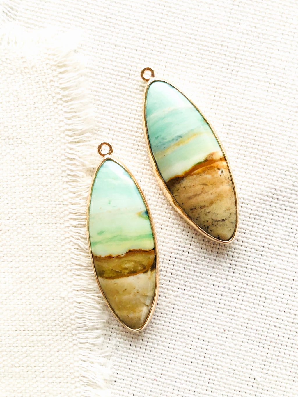 Blue Opalized Fossilized Wood Earrings