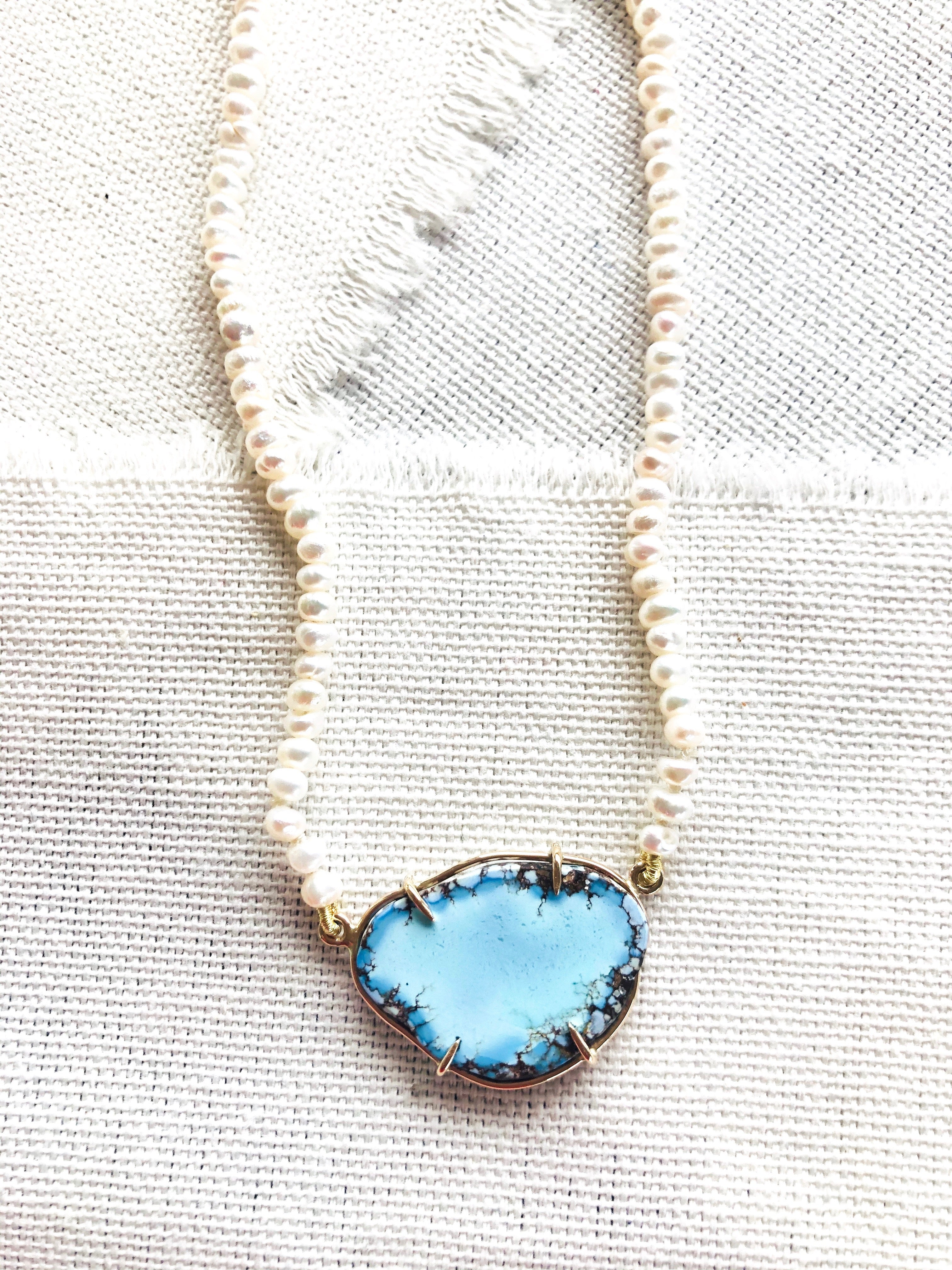 Let this beautiful effortlessly chic Kazakhstan turquoise necklace compliment your beach holiday. Kazakhstan turquoise is also known as Golden Hills Turquoise or Lavender Turquoise.
