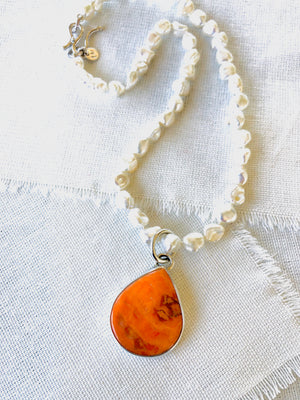 Orange Spiny Oyster Shell Necklace on Pearls