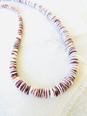 Unisex Purple Spiny Oyster Shell Beaded Necklace