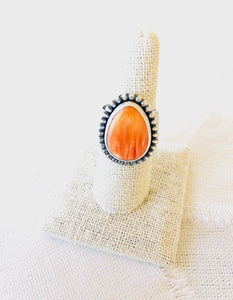 spiny oyster shell ring, orange spiny oyster shell ring, spiny oyster shell jewelry, spiny oyster shell
