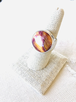 spiny oyster shell ring, spiny oyster shell jewelry, spiny oyster shell, purple spiny oyster shell