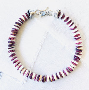 Purple Spiny Oyster Shell Beaded Necklace with Handmade Silver Cones