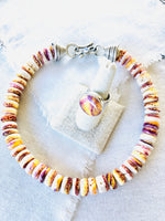 Yellow & Purple Spiny Oyster Shell Beaded Necklace with Handmade Silver Cones