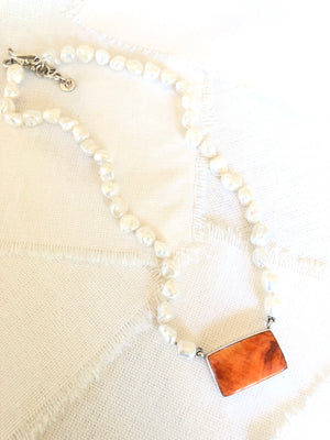 Orange Spiny Oyster Shell Bar Necklace on Pearls