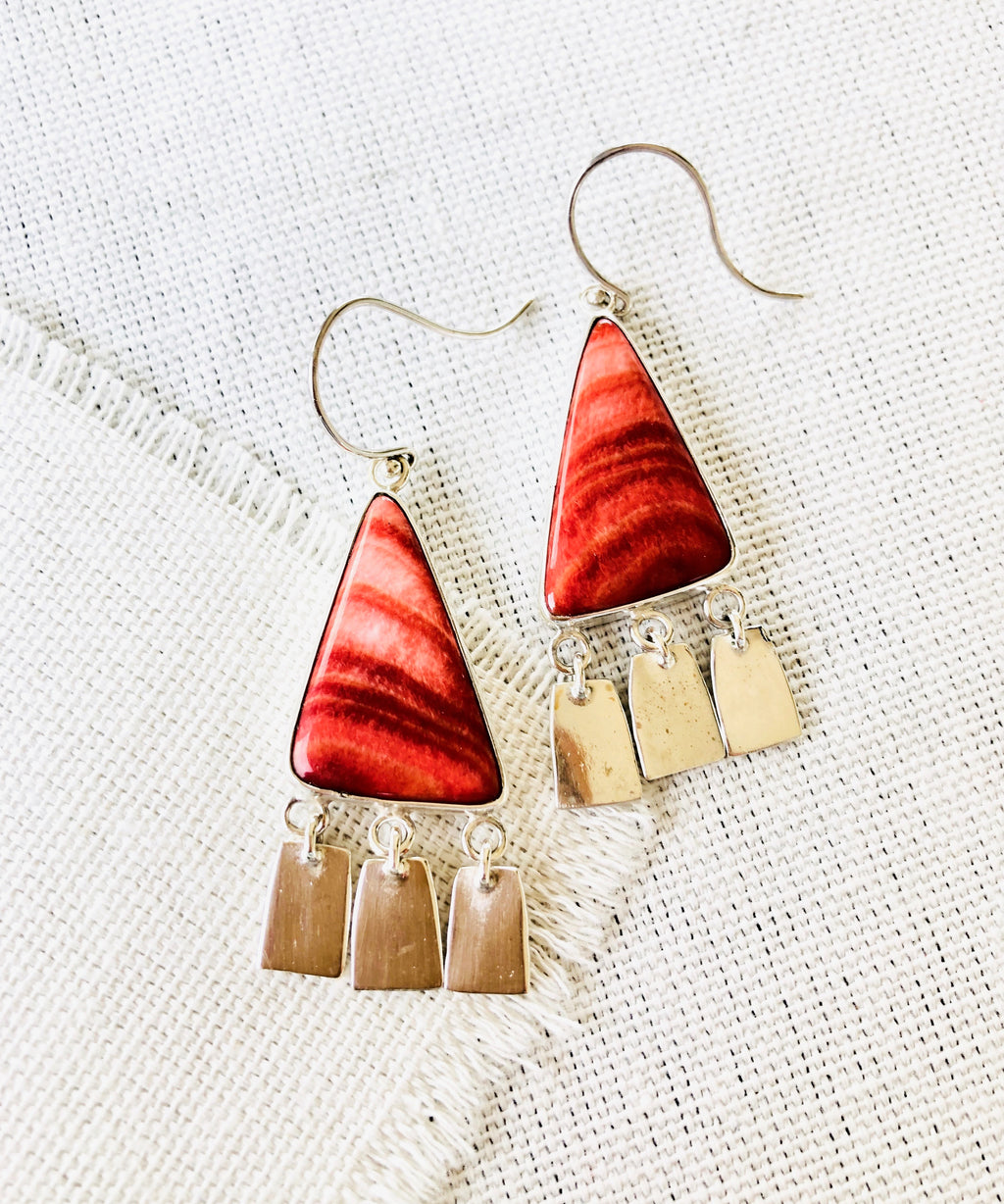 Red Spiny Oyster Shell Earrings