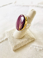 Purple Spiny Oyster Shell Ring Bezel Set in GOLD