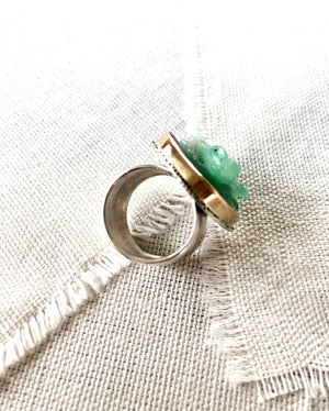 Chrysoprase Frog Ring set in 14kt GOLD & Silver
