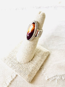 Marquise purple spiny oyster shell ring set in sterling silver.