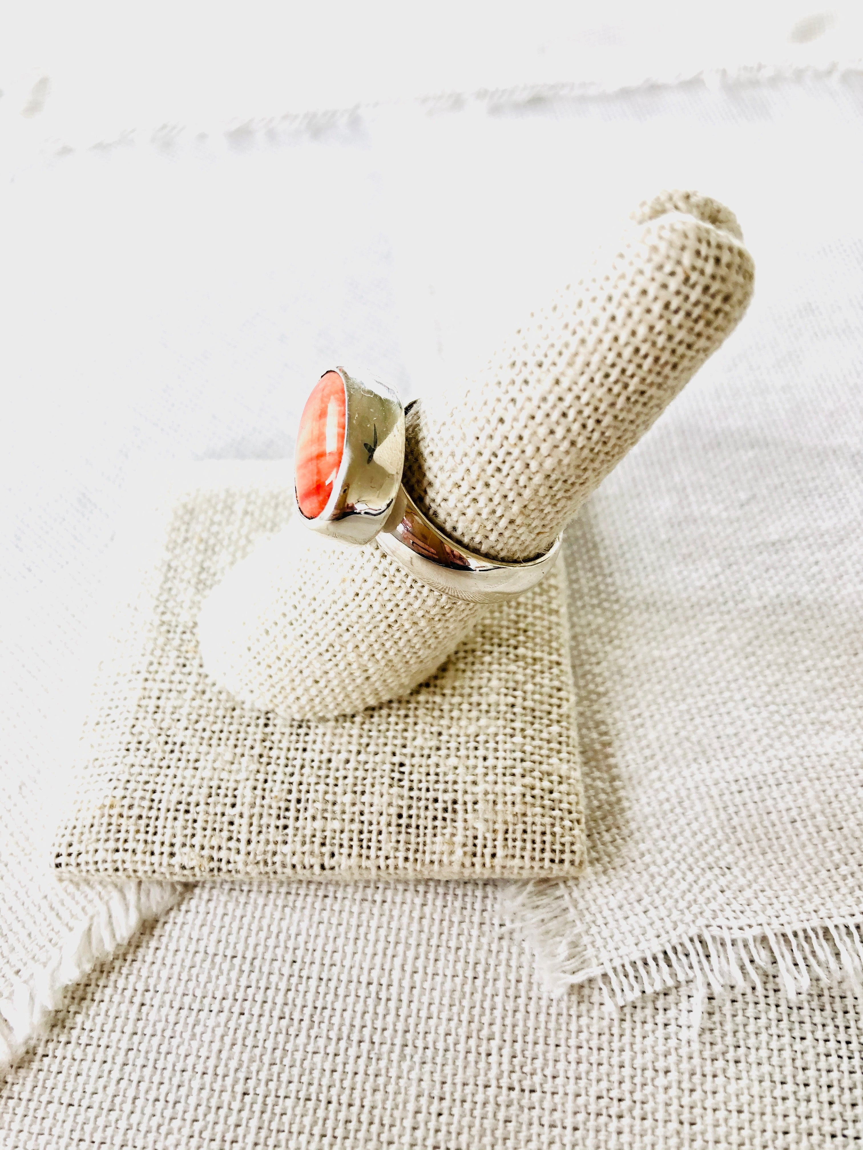 Orange Spiny Oyster Shell Ring
