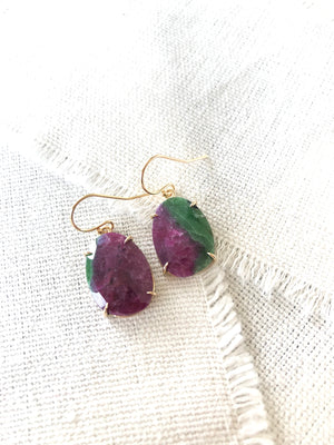 Zoisite Gold Earrings