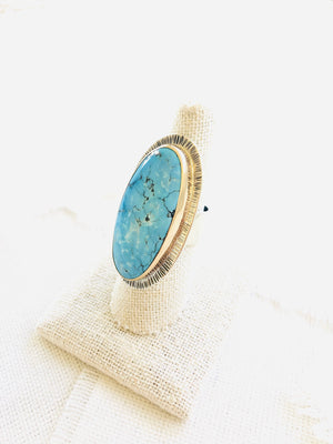 Kingman Turquoise 14kt GOLD & Silver Ring