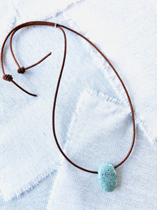 Turquoise on Leather Surfer Necklace