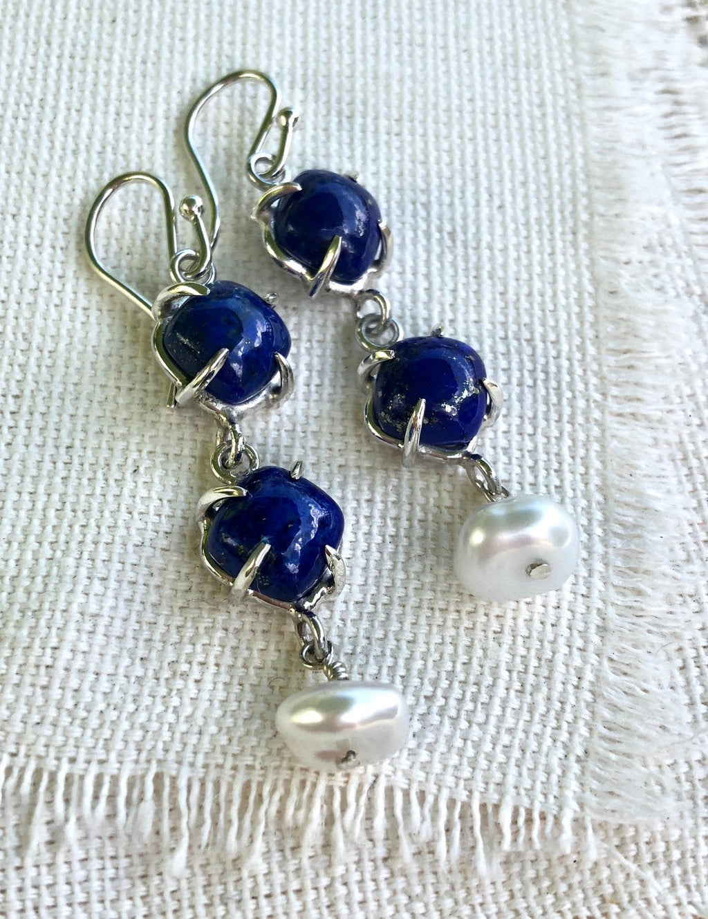 Lapis Earrings, Lapis Dangle Earrings, Blue Earrings, Pearl Earrings, Lapis and Pearl Earrings, Lapis Jewelry