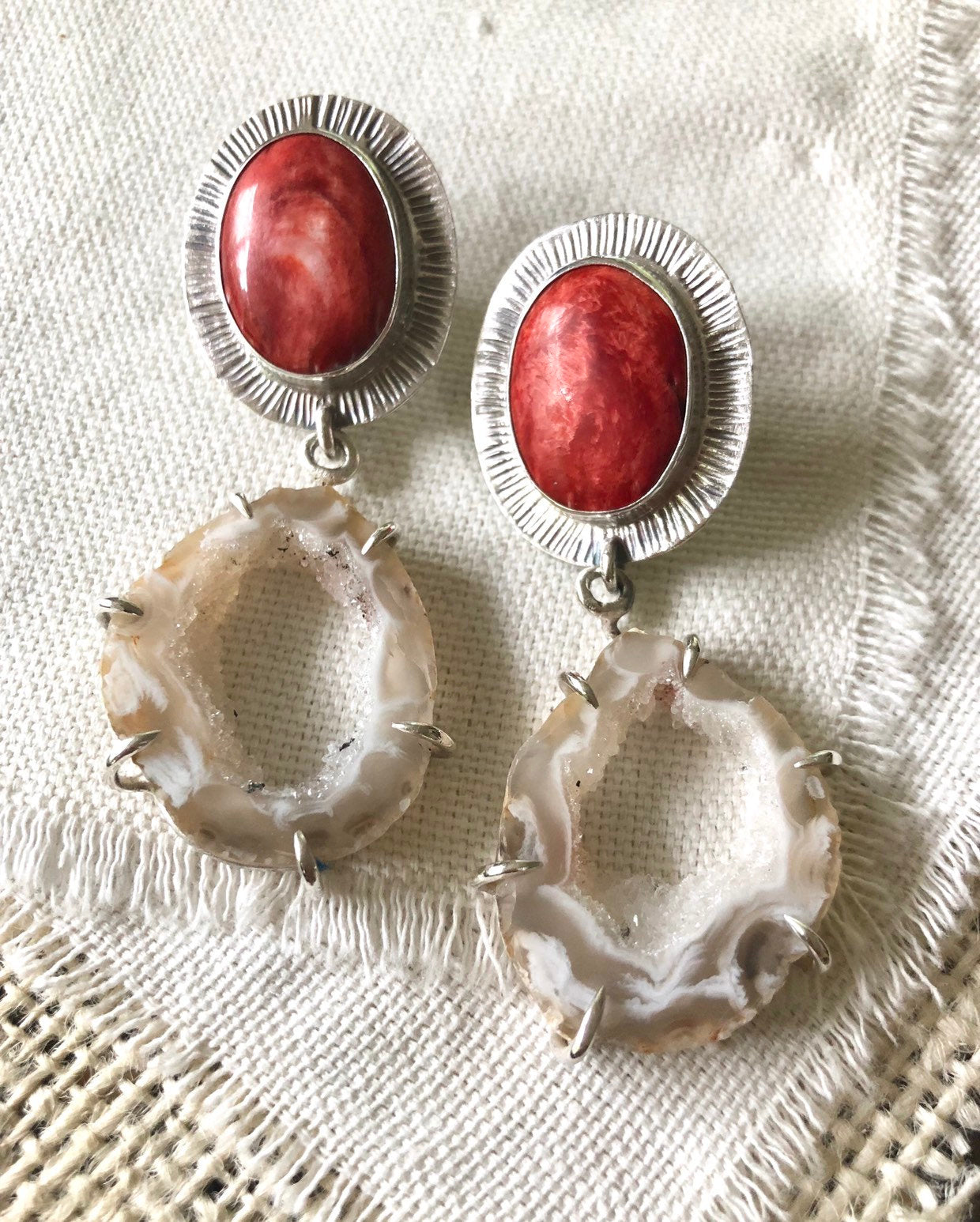 Geode Earrings, Spiny Oyster Earrings, Spiny Oyster Jewelry, Oco Geode Earrings, Geode Jewelry, Statement Earrings, Geodes, Spiny Oyster